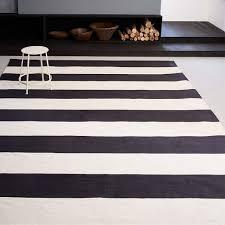 rug black and white. bold stripe cotton rug black and white