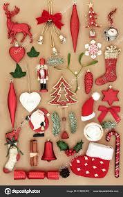 Retro Christbaumschmuck Ornamente Und Symbole Mit Holly Efeu