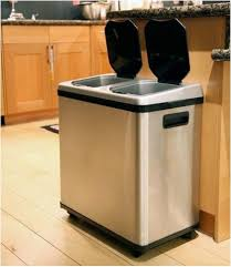 Nice Stainless Steel Kitchen Trash Recycling Bin Combo