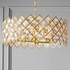 aerin diamond crystal chandelier brass
