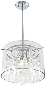 glass drum chandelier three light chrome clear crystals glass drum shade pendant possini euro design rainfall