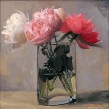 jacob collins still life painting peonies in a square glass