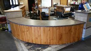 concrete countertop on reception desk