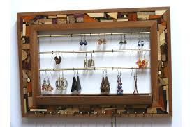 jewelry organizer wooden mosaic wall jewelry holder organizer