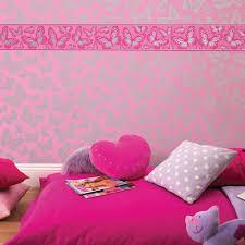 Pink Bedroom Wallpaper Girls Generic Bedroom Wallpaper Borders Butterfly Flowers Birds
