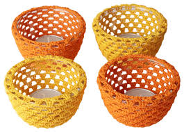 tea light candle holders bulk set of 4 glass votive candle holders orange yellow crochet