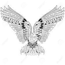 Gestileerde Cartoon Eagle Geïsoleerd Op Een Witte Achtergrond