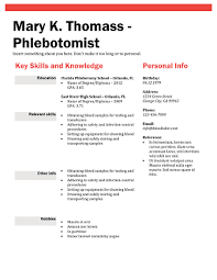 Phlebotomist Resume Simple Phlebotomist Resume Skills Phlebotomy Resume Mary K Thomass