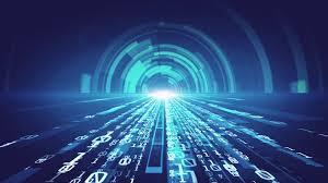 Digital Tunnel Digital Technology Background Binary Tunnel Effect