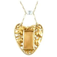 art nouveau aquamarine gold pendant picture frame necklace for