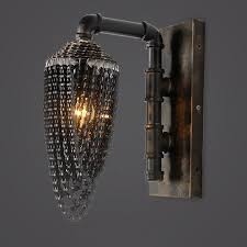 industrial chic lighting. industrial chic recycled bike chains shade 1light metal retro indoor wall lamp with plumbing pipe lighting