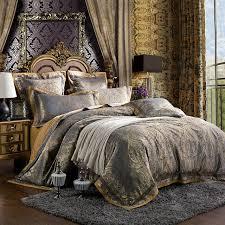 6pcs set luxury silk bedding set king size damask european palace style satin silk bed