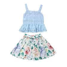 Skirt Size Chart For Toddlers Amazon Com Ziyoyor 2pcs Baby Girls Summer Floral Irregular