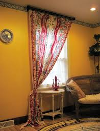 handmade vintage looks hand painted cotton linen soft material boho window curtain multi color