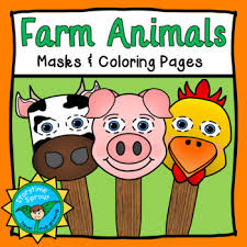 Farm Animal Masks Coloring Pages Pack Pig Chicken Cow