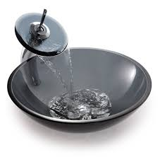 kraus clear black glass vessel sink and waterfall faucet
