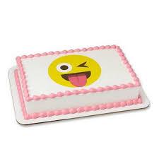 Emoji Emoticon Winking 1 2 Sheet Cake Cupcake Edible Sheet Image