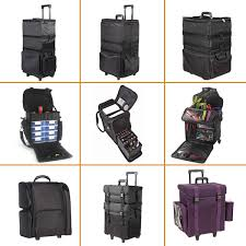 soft sided rolling professional trolley nylon makeup case with drawers