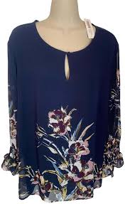 Chicos Navy Blue White Maroon New With Tags Bird Of Paradise Print Blouse Size 16 Xl Plus 0x 51 Off Retail