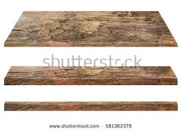 Wooden shelves isolated on a white background