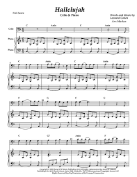 hallelujah piano sheet music hallelujah for cello and piano sheet music store