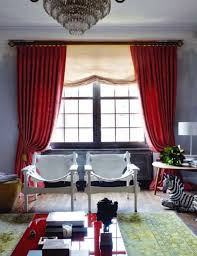 living room red curtains and red sofa red panels curtains