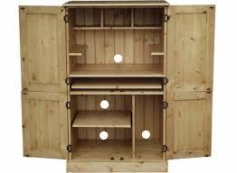 Solid Pine Or Oak 4 Door Bespoke Computer Hideaway Workstation Pertaining  To Hideaway Computer Desk (