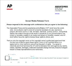 Reply With An Attached Social Media Release Form From An Ap Editor