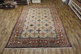 10 6 x 15 8 palace sized hand knotted vegetable dye ivory persian isfahan oriental area rug 12980456