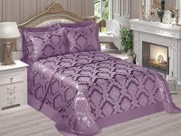 satin jacquard bedspread set purple