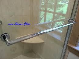 swingeing sliding shower door towel bar l enclosure gold anodized aluminum round header clear glass modern