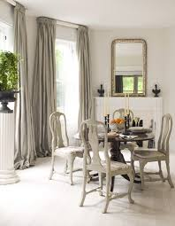 White Interior Dining Room Combined With Double Side Gray Curtain - Dining room curtain designs