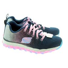 sketchers for kids. skechers kids 80035l skech air trainers in navy/pink sketchers for