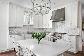 Marble slab backsplash Quartz Shaped Kitchen With Gray And White Marble Slab Backsplash Decorpad Shaped Kitchen With Gray And White Marble Slab Backsplash