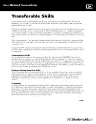 Transferable Skills Example Resumes Very Attractive Transferable Skills List The Brilliant For