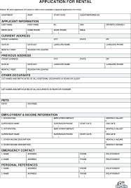 Application Form For Rental Home Rental Application Template Metabots Co
