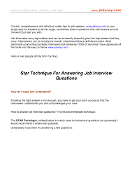 Star Technique For Answering Job Interview Questions From