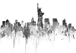 new york painting new york city skyline watercolour black by prar kulasekara