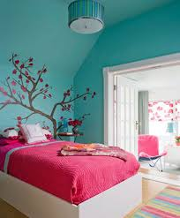 Teal And Pink Bedroom Decor Pink Bedding Sheet With Nice Blue Wall Color For Sweet Teenage