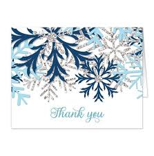 snowflake thank you cards winter blue silver snowflake thank you cards online at artistically