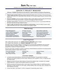 Technical Resume Sample Resume Technical Project Manager Copy Experienced It 67