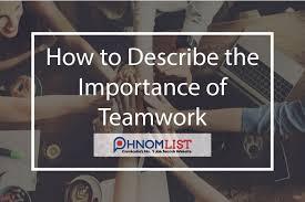 Describe Teamwork How To Describe The Importance Of Teamwork Jobs Phnomlist Com