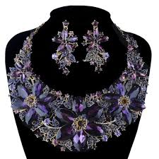 Statement Necklace Set Wedding Party Purple Color Rhinestone
