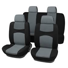 breathable car seat covers full set for auto w 4 headrests gray black 0
