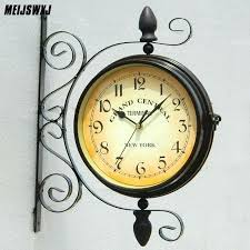 two side wall clock retro metal double sided style garden vintage modern