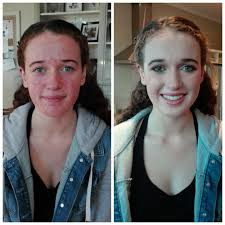 before and after of ball makeup