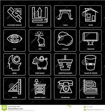 Chart Telephone Set Of Bar Chart Telephone Ruler Shopping Basket Head