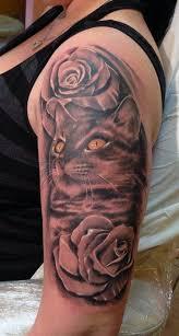 Tetování Kočka S Kytkama Tetování Tattoo