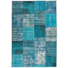 distressed overdyed patchwork rug for