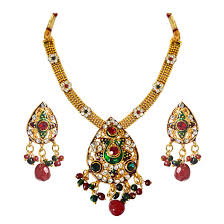 ethnic pear shaped red green white stones gold plated pendants necklaces earrings set with enamel